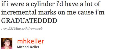 if i were a cylinder i'd have a lot of incremental marks on me cause i'm GRADUATEDDDD