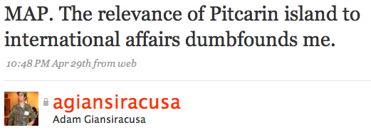 MAP. The relevance of Pitcarin island to international affairs dumbfounds me.