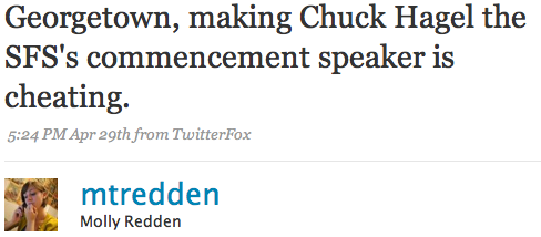 Georgetown, making Chuck Hagel the SFS's commencement speaker is cheating.