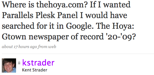 Where is thehoya.com? If I wanted Parallels Plesk Panel I would have searched for it in Google. The Hoya: Gtown newspaper of record '20-'09?