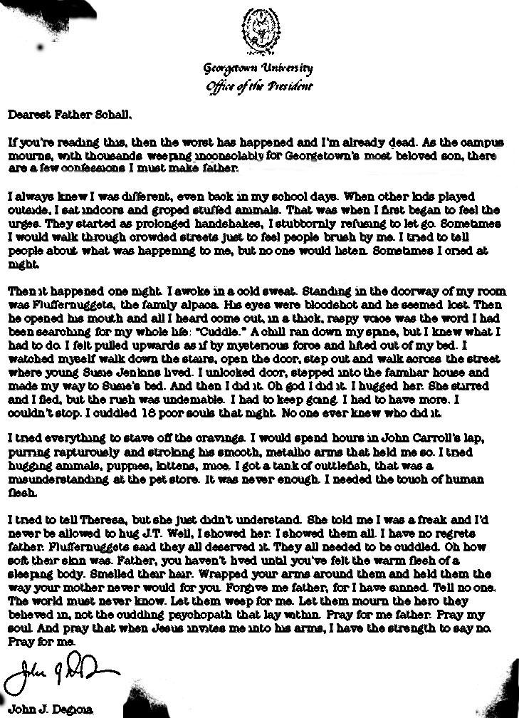 DeGioia Confession Letter