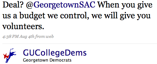 Deal? @GeorgetownSAC When you give us a budget we control, we will give you volunteers.