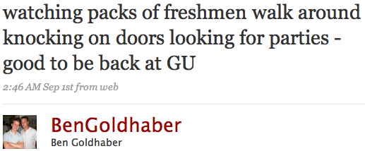 watching packs of freshmen walk around knocking on doors looking for parties - good to be back at GU