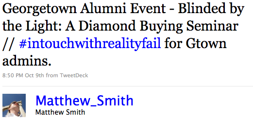 Georgetown Alumni Event - Blinded by the Light: A Diamond Buying Seminar // #intouchwithrealityfail for Gtown admins.