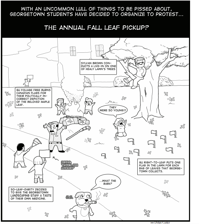 Student protests at the annual fall leaf pickup