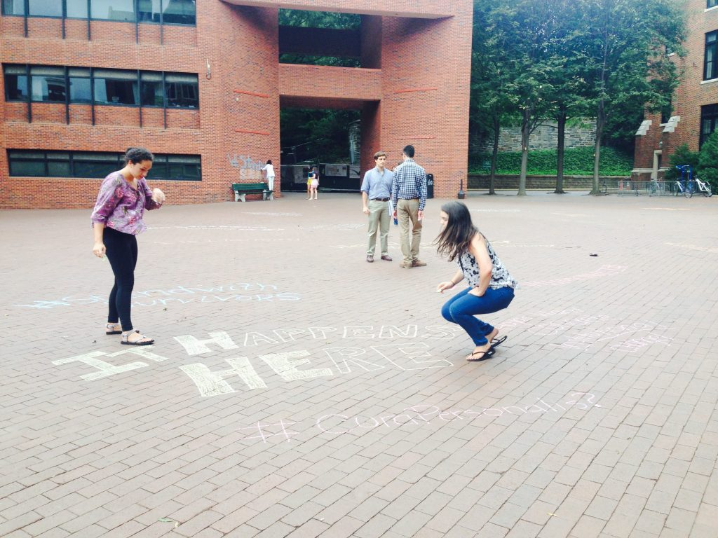 Students chalk Red Square in support of sexual assault survivors