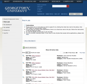 HoyaWorks, the website for finding on-campus jobs.