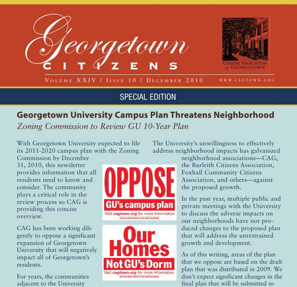 The Citizen's Association of Georgetown Dec. 2010 newsletter opposing the campus plan, from the days of more bitter town-gown relations.
