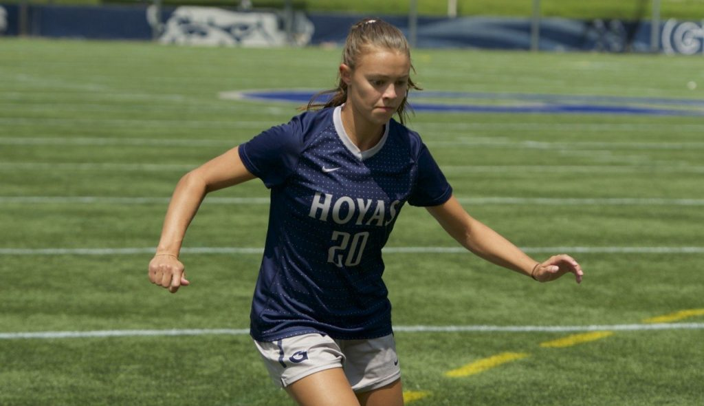 Down(ey) Goes Seton Hall: Downey's hat trick helps women's soccer sink Pirates 4-0
