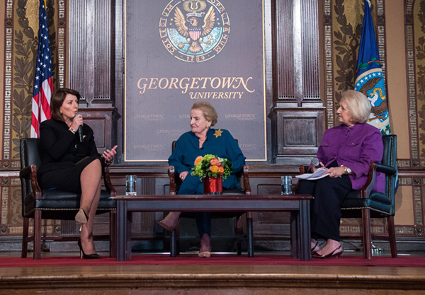 Albright and President of Kosovo discuss women's role in peacemaking