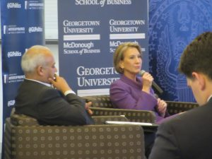 """Carly Fiorina speaks with Mo Elleithee in the second of the Institute for Politics and Public Service's """"Reflections on Running"""" events.  / Photo: Margaret Gach"""