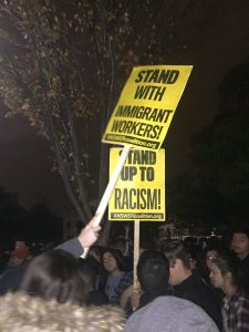 Students and others protest Trump's election at the White House. Photo: Cassidy Jensen