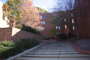Steps open on to campus apartments.