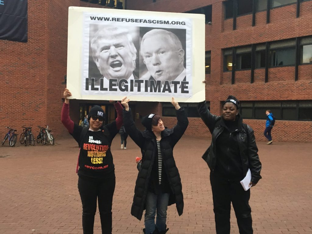 Anti-Trump group protests on campus