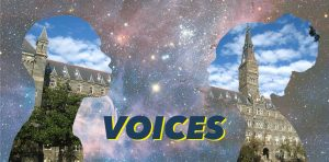 starry background with profiles of two people with an image Healy Hall inside their heads, text reading VOICES