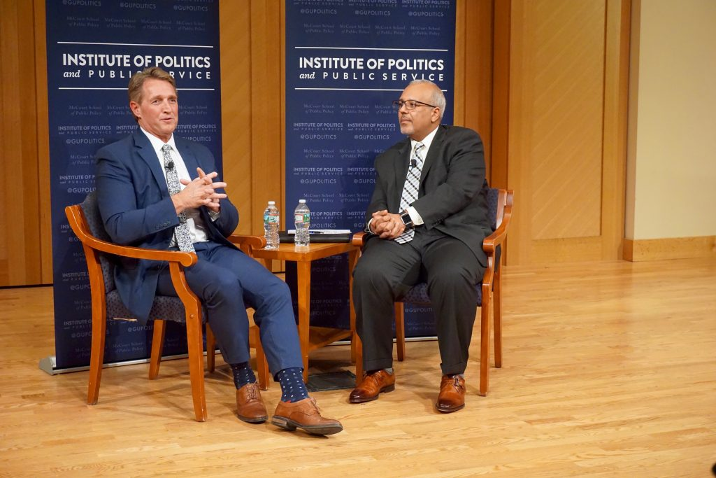 Sen. Flake discusses Republicans' future, 'politics of resentment' with GU Politics