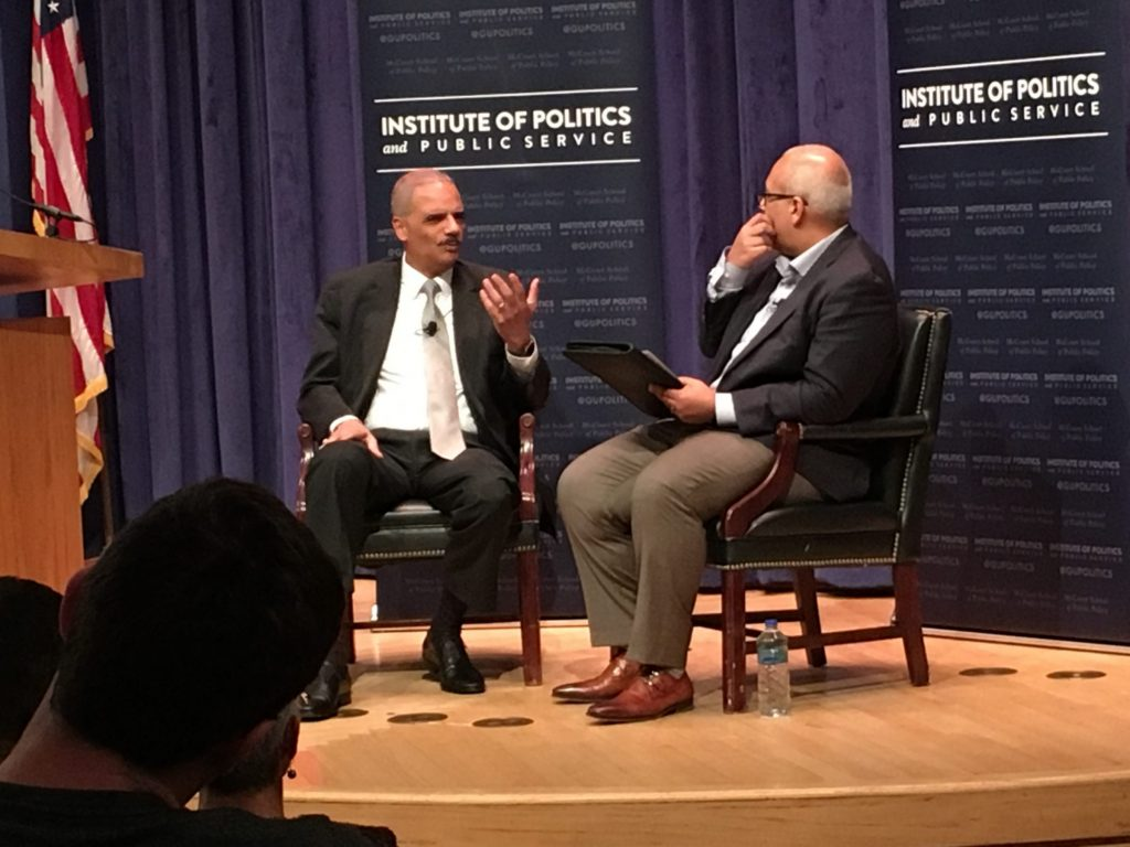 Eric Holder discusses dangers of gerrymandering with GU Politics