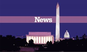 "The word ""News"" appears over the Lincoln Memorial and Washington Monument."