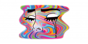 colorful face crying