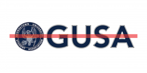 The GUSA logo and word have red line striking through it