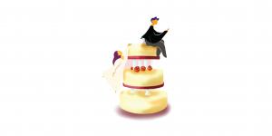 wedding cake, bride, groom