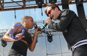Noelle Scaggs and Michael Fitzpatrick of Fitz and the Tantrums perform at Edgefest in Dallas in 2013