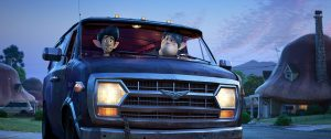 two characters sit in a car looking out of the windshield