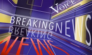 The words breaking news appear in a blue box with red and white lines.