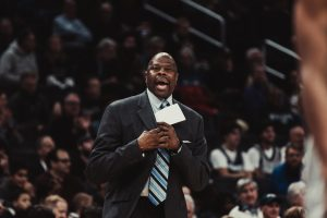 Georgetown men's basketball head coach Patrick Ewing coaching against the Creighton Bluejays during the 2019-20 basketball season.