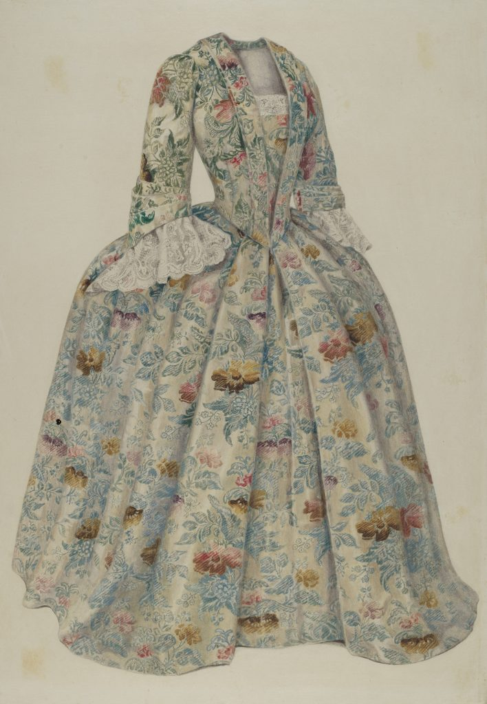 A floral-patterned dress with a flared skirt