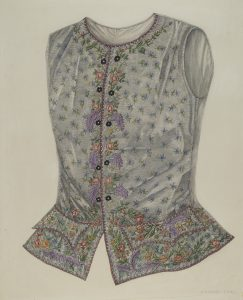 a silk vest with floral patterning and a flared waist