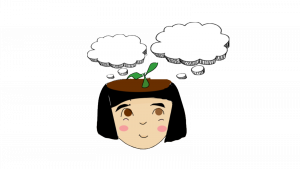 Graphical drawing of girl with idea clouds growing out of head.