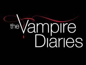 There is a black background with the words The Vampire Diaries written in white text with a red swish