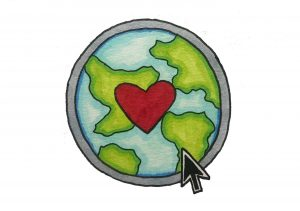 An illustration of the earth, enclosed in a gray circle with a heart in the middle. A computer mouse icon hovers over the illustration of the earth.