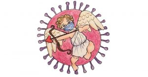 A cupid wearing a surgical mask and holding a bow and arrow flies in front of a pink COVID-19 molecule.