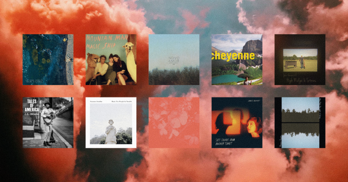 various album covers of songs mentioned in the article with a pink cloud backgorund