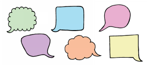 six speech bubbles in two rows, colored green, blue, pink, purple, orange and yellow from left to right, top to bottom