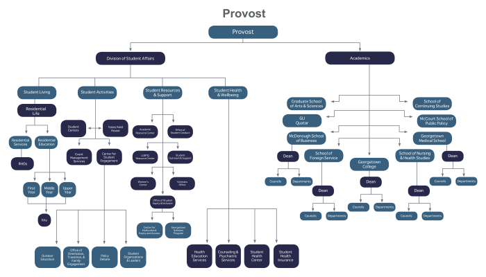 The flowchart shows the organization of the provost's office.