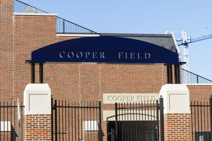 Cooper Field's entrance stands tall in the middle of campus