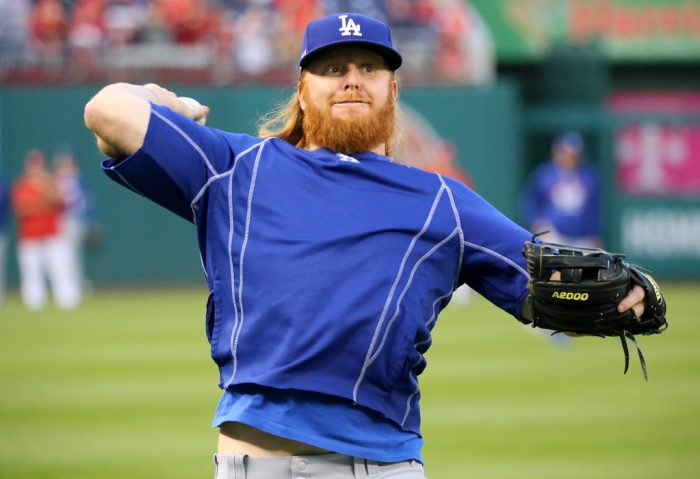 Dodgers third baseman Justin Turner warming up before a game.