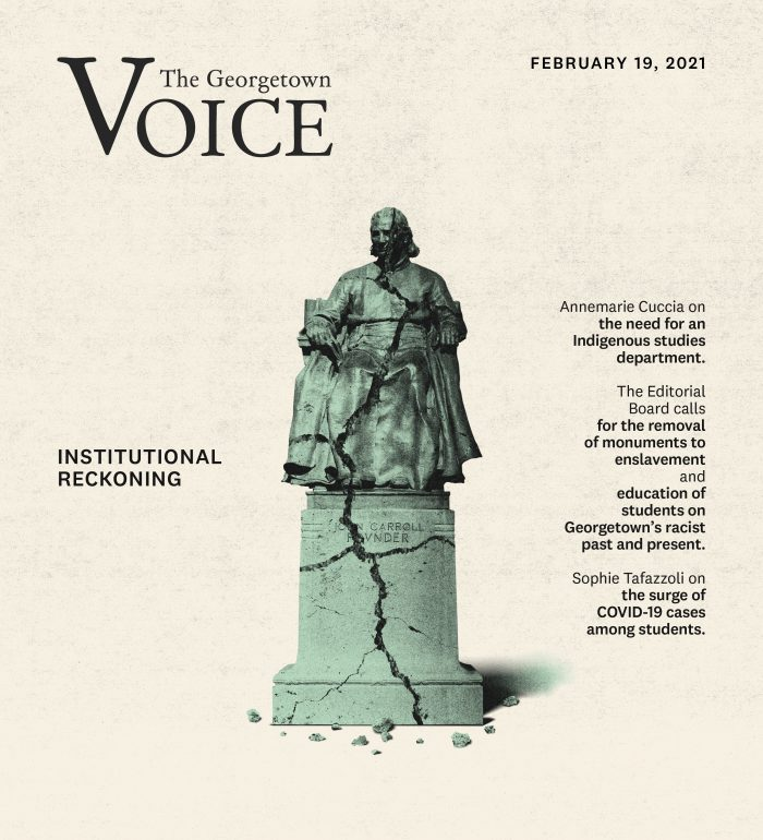 """A cracked John Carroll statue captioned """"Institutional Reckoning"""""""